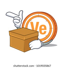 With box Veritaseum coin character cartoon