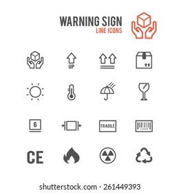 Box warning sign icon set. Vector illustration.