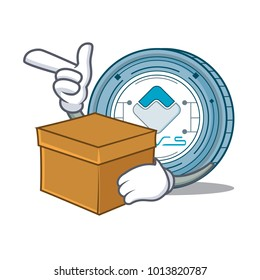 With box Waves coin character cartoon