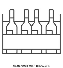 Box with wine bottles thin line icon, Wine festival concept, wine bottles in case sign on white background, alcohol drink in wooden crate icon in outline style for mobile, web. Vector graphics.