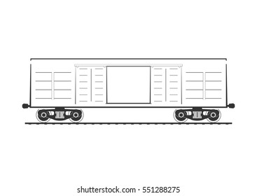 Boxcar. Railroad car isolated on white. Vector illustration.