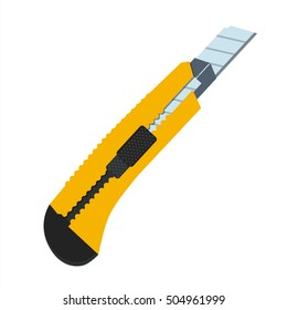 Boxcutter tool icon. Household box cutter instrument for general or utility purposes. Snap-off blade stationery knife vector illustration