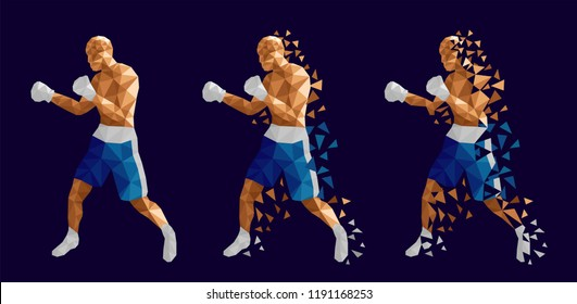 Boxer abstract design, three men wearing boxing gloves, shorts and trainers on abstract background (Blue and white kits) , vector illustration, set 6/13