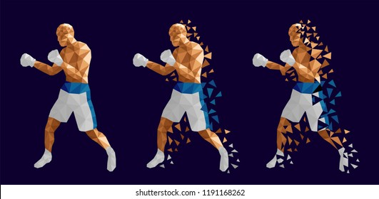Boxer abstract design, three men wearing boxing gloves, shorts and trainers on abstract background (Blue and white kits) , vector illustration, set 5/13