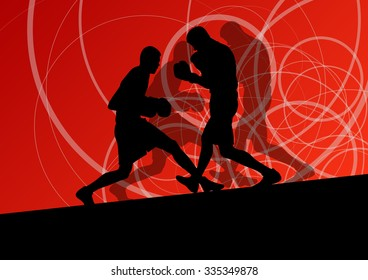 Boxer boxing man in action sport vector background concept