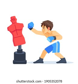 Boxer boy training with punching dummy. Teenager boxing, hitting a Punching bag - mannequin. Fitness, sport, training, will power and lifestyle concept. Cartoon vector illustration on white background