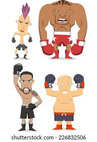 Boxer cartoon illustrations