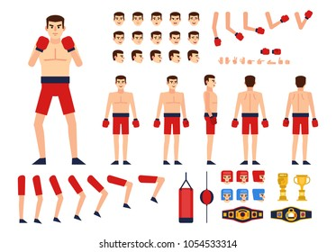 Boxer creation kit. Create your own pose, animation. Various emotions, gestures, boxing design elements. Flat design vector illustration