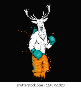 A boxer with a deer head. Athlete in shorts and boxing gloves. Vector illustration for a postcard or a poster, print for clothes. Boxing. An animal is a hipster.