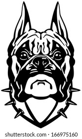 boxer dog head, black and white front view illustration