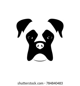 Boxer dog muzzle. Black and white. Vector illustration.