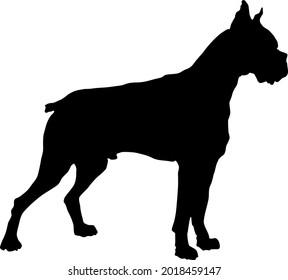 boxer dog silhouette shadow vector