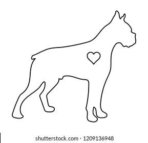 Boxer dog vector outline Love dog