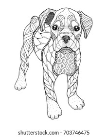 Boxer dog in zentangle and stipple style. Vector illustration. Anti stress coloring book for adults and kids.