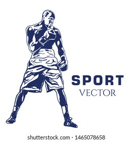 Boxer Fight Drawing Vector Sport