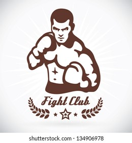 Boxer Fitness Model Illustration, Sign, Symbol, Button, Badge, Icon, Logo for Family, Baby, Children, Teenager, People, WBO, Tattoo