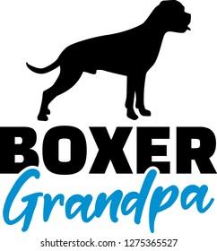 Boxer Grandpa silhouette in black