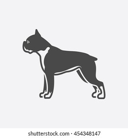 Boxer icon black simple style. Singe dog icon from the dog breads set - stock vector