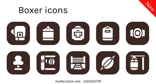 boxer icon set. 10 filled boxer icons. Simple modern icons about  - Boxing gloves, Punching ball, Boxer, Punching bag, Champion belt, Boxing ring