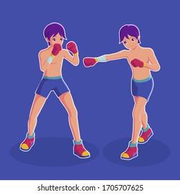 Boxer Kickboxing Sport Character Vector Illustration