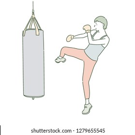 A boxer is kicking a sandbag with a glove on. hand drawn style vector design illustrations.