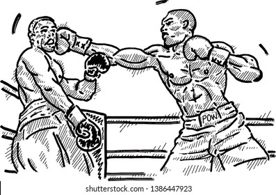 A boxer landing a knockout punch on his opponent face. Hand drawn vector illustration.