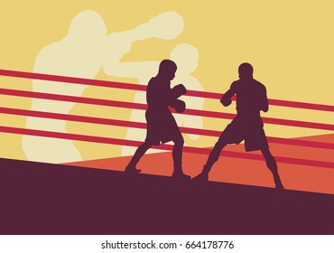 Boxer man fight in boxing ring vector background with retro colors