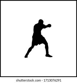 Boxer man icon sport black vector illustration