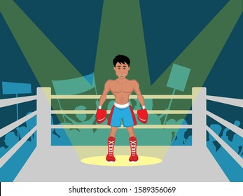 Boxer in red gloves in boxing ring