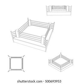 Boxer ring set. Isolated on white background. Vector outline illustration.