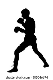 Boxer in ring vector silhouette illustration isolated on white.  Strong fighter. Direct kick. Sportsman on training. Sparing. Martial skills demonstration. Boxing sport spectacle event. Kick avoidance