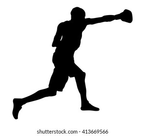 Boxer in ring vector silhouette illustration isolated on white background. Direct kick. Training sparing boxing. Muscle sportsman work out.