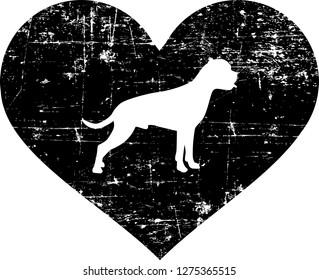 Boxer silhouette in black heart