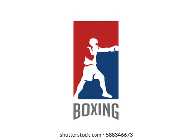 Boxer silhouette Logo design vector template. Boxing Sport Logotype icon Negative space style
