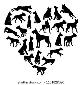 A Boxer or similar dog heart silhouette concept for someone who loves their pet