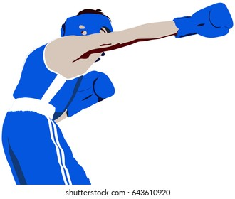 boxer straight right punch to head vector illustration