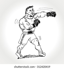 The boxer strike at the left. Vector cartoon