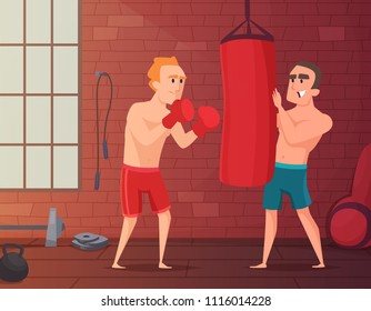Boxer training. Male hits to punching bag at the gym. Cartoon sport characters boxing, boxer male training. Vector illustration