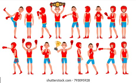 Boxer Training Vector. Boxing Sport. Athlete In Action. Healthy Lifestyle. Isolated Flat Cartoon Character Illustration