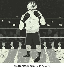Boxer An underdog boxer getting ready to fight. The boxer, ring, crowd and background are on separate labeled layers.