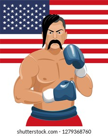 Boxer vector illustration on American flag.