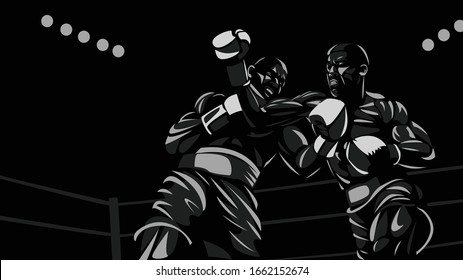 Boxers fighting in the ring black and white vector illustration. Throw an uppercut.