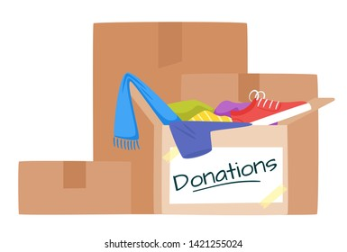 Boxes with clothing donations flat vector illustration. Cardboard container with old shoes and accessories. Flea market, thrift shop, second hand store assortment isolated clipart. Charity, voluntary