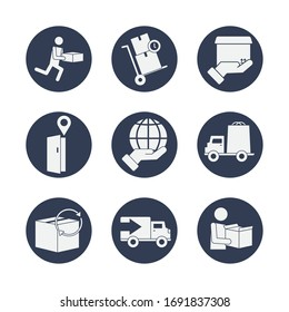 boxes and delivery icon set over white background, block style, vector illustration