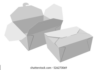 Boxes for food. White gray container mockup. Vector illustration