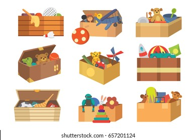 Boxes full kid toys cartoon cute graphic play childhood baby room container vector illustration