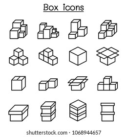 Boxes icon set in thin line style