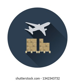 Boxes on pallet under airplane. Logistic concept icon. Flat color with shadow design. Vector illustration.