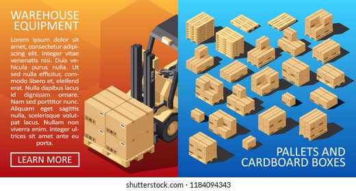 Boxes on Wooded Pallet Isometric Style Warehouse Cardboard Parcel Boxes Stack. Carton Delivery Packaging Box with Fragile Signs. Vector illustration.