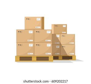 Boxes on wooded pallet vector illustration, flat style warehouse cardboard parcel boxes stack front view